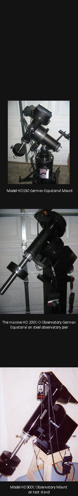 Parallax Instruments, Inc. - German Equatorial Mounts (side) Telescopes and Rotating Rings and Mounts